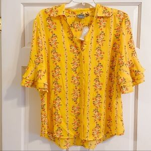 New! Yellow Floral NY&CO Button-Down Blouse
